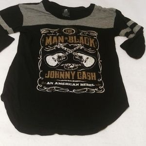 Johnny Cash the man in black baseball tee